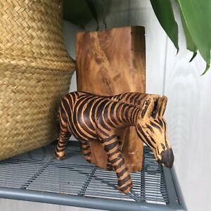 Wooden Hand Carved Zebra Animal Sculpture Bookend African Safari