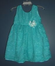 BLUEBERI BOULEVARD Baby Girl 24 Months Turquoise Blue Lace Overlay Party Dress
