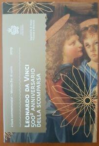 "2019 SAN MARINO ""LEONARDO DA VINCI"" moneta 2 euro FDC in folder originale"