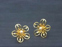 Vintage Gold-Toned Floral Stud Earrings with Faux Pearl Detailing Pierced a26