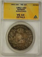 1862 Norway One Specie Daler Silver Coin 1SD ANACS VG-10 Details Scratched