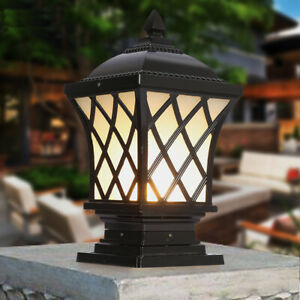 Country Style Black/Brass Square Lantern Frosted Acrylic Garden Gate Pillar Lamp