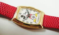 Seiko Mickey Mouse SXT004 Gold Tone 2K02-0010 Lizard Sample Watch NON-WORKING