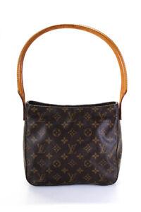 Louis Vuitton Womens Monogram Canvas Looping MM Handbag Brown