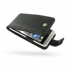 Pdair Hand Made Leather Flip Type Case Carry Cover for HTC One Mini - Black