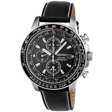 NEW MENS SEIKO SOLAR FLIGHTMASTER ALARM CHRONOGRAPH SPORTS WATCH SSC009P3