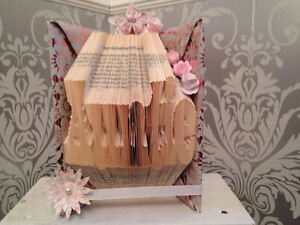 """hand made """"auntie"""" book fold origami with flowers gems and ribbon"""