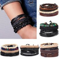 4PCS Fashion Punk Leather Bracelets Set Braided Wristband Cuff Bangle Men's Gift