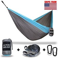 Double Portable Hammock with Included Loop Lock Tree Straps - Blue