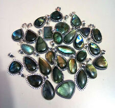20 PCs Natural Multifire Labradorite Gemstone Silver Plated Necklace Pendants
