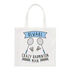 Beware Crazy Badminton Man Regular Tote Bag Funny Sport