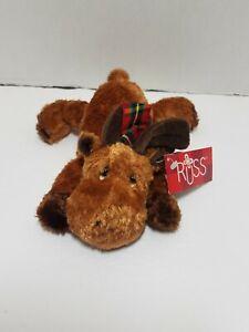 "Russ Mookie Christmas Moose Floppy Bean Bag Plush Toy 6"" W/ Plaid Scarf & Tags"