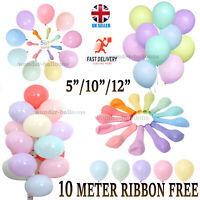 "Pack of 100 Pastel Latex Balloons Macaron Candy Many Colour Party 5''/10""/12"" UK"
