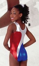 NWOT Axis Gymnastic Dance Leotard Royal Red Silver Foil Petite adult (fits chld