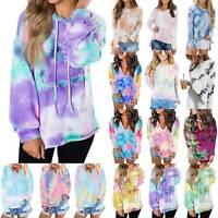 Womens Tie Dye Long Sleeve Jumper Pullover Sweatshirt Blouses Autumn Loose Tops