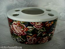 Collectible Burgundy/Green/Blue Rose Tapestry/Chintz Ceramic Toothbrush Holder