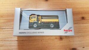 Herpa 940672 - 1/87 Leonhard Blanc Man Tgs M Construction Kipper-Lkw avec Grue -