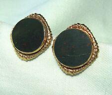 """Gold Plate Bloodstone Screw-Back Earrings 4.4 grams 3/4"""""""