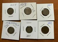 Flying eagle Indian head pennies 1858 1859 1860 1862 1863 1864  LOT OF 6 penny