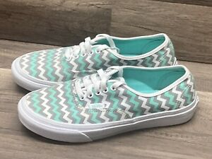 WOMENS VANS OFF THE WALL CLASSIC GREEN GRAY WHITE ZIG ZAG CANVAS SNEAKERS 7.5