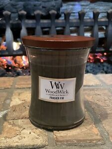 Woodwick Candle & Lid Frasier Fir Scent 9.7oz Medium Jar Crackles as it Burns
