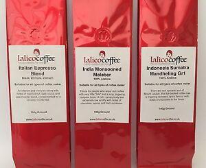 Rich Intense Triple Gift Set 100% Hand Roasted Arabica Coffee Beans/Ground