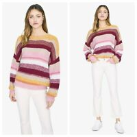 NWT Sanctuary Wool Mohair Striped Sweater Oversized Slouchy Crew Blur the Lines