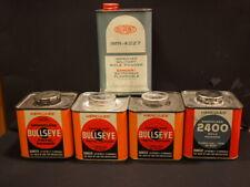 (4) Vintage Hercules Bullseye Powder Tin Can, (1) DuPont Imr-4227 Tin Can
