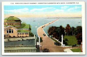 Clearwater Florida~Causeway to Beach Birdseye~Cavalry Baptist Rooftops~1925