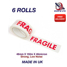 Printed Fragile Parcel Packing Tape 48mm*150m*46mic, Strong, Low Noise..