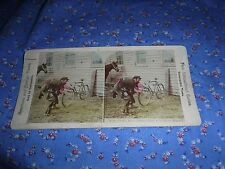 Old Stereoview New Educational Comic Why don't Dese Dudes Ride Chainless Bikes?