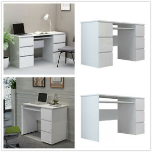 High Gloss White Computer Desk with Drawer Laptop PC Table Home Office Writing