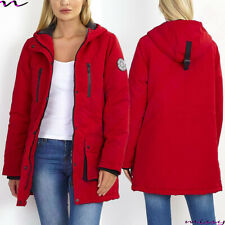 NEW Womens LADIES PARKA JACKET LONG Sleeves WINTER COAT Size 8-16 RED HEAVY TASL