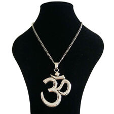 Large Abstract OM AUM Symbol Yoga Pendant on Long Chain Necklace Lagenlook