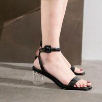 Fashion Women Sandals Peep Toe Transparent Block Heels Slingback Shoes