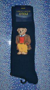 Polo Ralph Lauren Blue Polo Bear Dress Socks 1 Pair Men's Sock Size: 10-13 NIP!