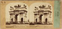 Italia Milan Arco Di La Paix c1860 Foto Po' Tempo & Gara Stereo Vintage Albumina