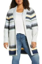 Caslon Long Cardigan Plus Size Staggered Stripe Open Front Shawl Collar Gray NWT