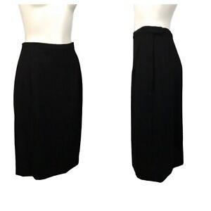 1960s Black Skirt / 60s High Waist Wool Pencil Skirt / Women's Small