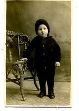 Cute Boy Fred-Winter Knit Outfit-Stocking Cap-RPPC-Vintage Real Photo Postcard