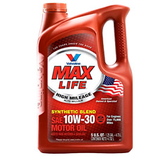 Valvoline 10W 30 Max Life High Mileage Motor Oil 5 Quart Synthetic Blend Liquid