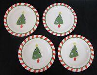 Salad dessert plates Pier 1 Christmas hand-painted candy cane stripe set of 4