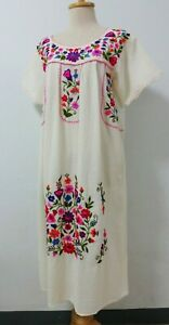 Hand Embroidered Mexican Peasant Dress, Off White Oaxacan Mexican Dress