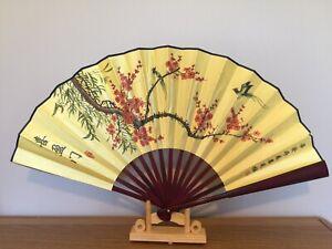 1x Chinese Silk Folding Hand Held bamboo Fan Party Dance Large ( Xi Ying Men )
