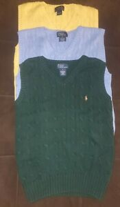 Boys Size 7 Polo Ralph Lauren Polo cable knit Sweater Vest lot of 3 1 new 2 vguc