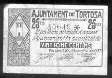 Ayuntamiento de TORTOSA 25 Centimos Noviembre 1937 @ Baix Ebre - Tortosa @
