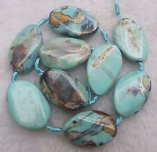 About 25x35mm Blue Agate Wave Oval Loose Beads 8pcs