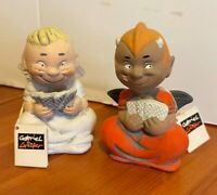 VINTAGE CLAY / CERAMIC GABRIEL& LUCIFER DEVIL OR ANGEL FIGURINES-KMH 1994 W/TAG