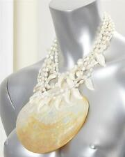 Vintage BARRERA Large Multi Strand PEARL SEA SHELL AMULET CHOKER NECKLACE