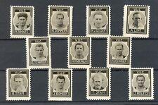 NEDERLAND 1937 ca  11 x  FOTO STAMPS  V.U.C.  VOETBAL  THICK PAPER NO GUM